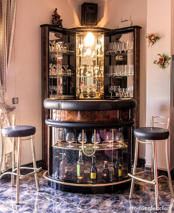 Mueble bar con barra americana y taburetes comprar muebles vintage en todocoleccion 101719579 - Mueble barra bar ...