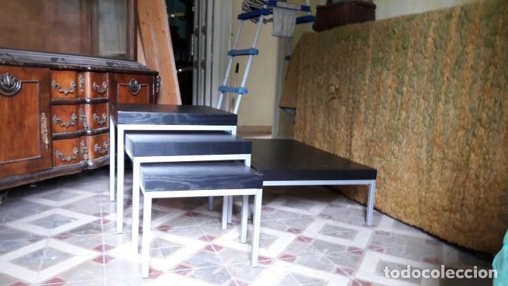 Conjunto de 3 mesitas auxiliares y mesa baja de comprar muebles vintage en todocoleccion - Mesitas auxiliares salon ...