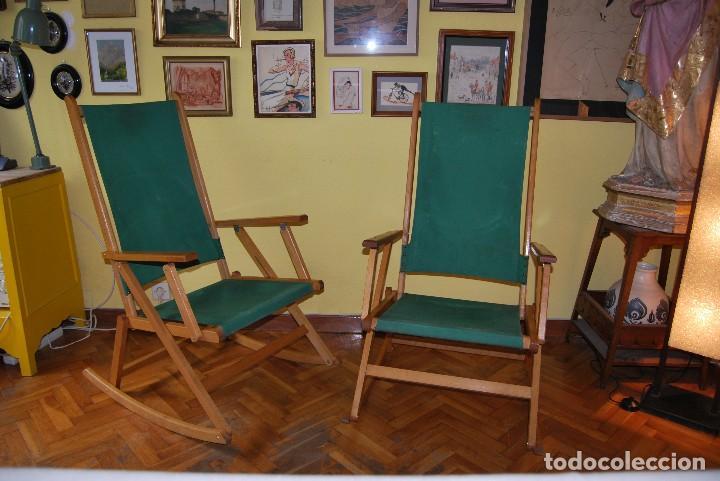 Pareja de mecedoras plegables butacas silla vendido - Sillas anos 60 ...
