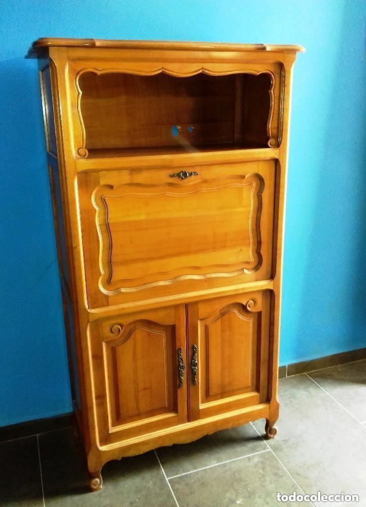 Mueble escritorio libreria en madera cerezo en comprar for Muebles online vintage