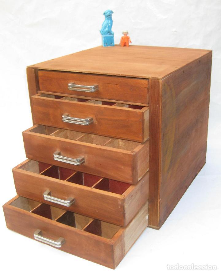 Mueble madera 4 cajones cajonera antiguo oficio comprar for Cajones para muebles
