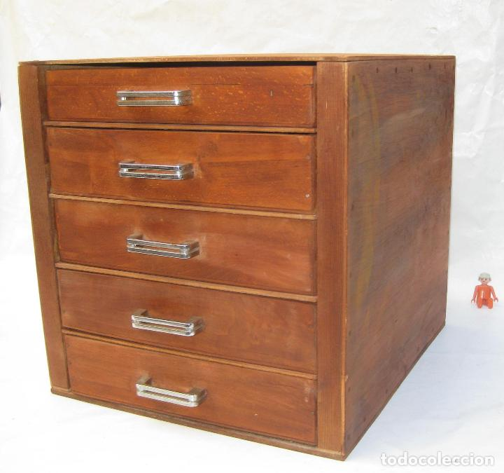 Mueble madera 4 cajones cajonera antiguo oficio comprar for Mueble vintage industrial