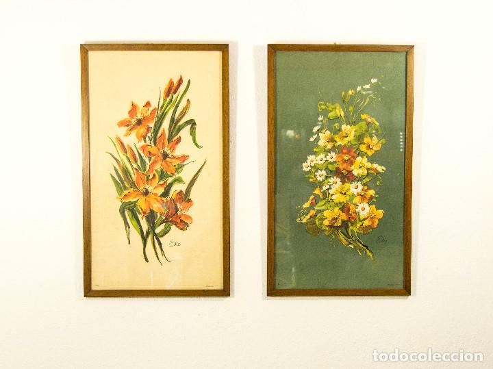 Pareja de cuadros vintage flores retro atrezo d comprar muebles vintage en todocoleccion - Cuadros shabby chic ...