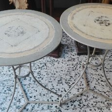 Vintage: PEREJA DE MESAS DE JARDIN. Lote 103916670