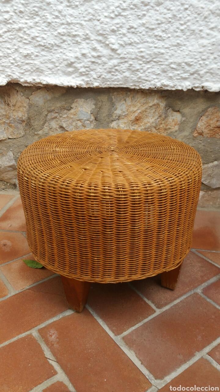 Antiguo Taburete Puff Mimbre Y Bamb Vintage Comprar Muebles  # Muebles Mimbre Segunda Mano