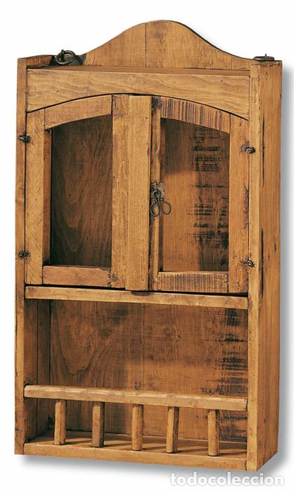 Especiero de madera con 2 puertas y balda mueb comprar for Balda muebles