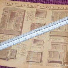 Vintage: ANTIGUA REVISTA - CATÁLOGO DE MUEBLES ART DECO - PRINCIPIOS 1900 - ALBERT GLEISER MÖBELFABRIC BERLIN. Lote 107452955