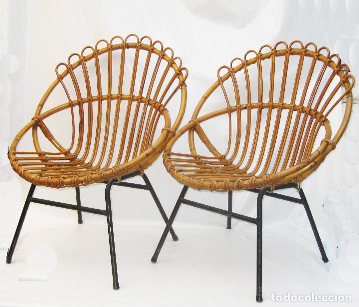 vip!excepcional pareja de sillas en mimbre vint - Comprar Muebles ...