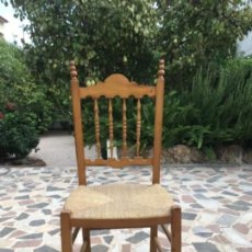 Vintage: SILLA DE MADERA Y ENEA. Lote 108300543