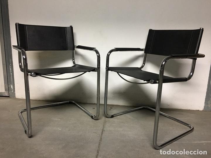 Pareja de sillas cromadas y cuero comprar muebles for Sillas cromadas