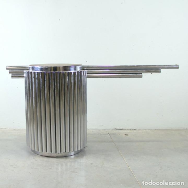 Vintage: Pie de mesa en acero. Años 70. - Foto 3 - 109036875