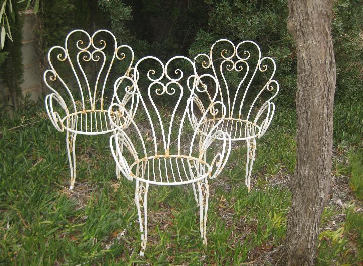 Espectaculares Sillas Hierro Vintage Forja Ideal Terrazas Jardin Diseño Midcentury España