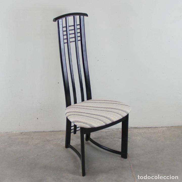 Vintage: 6 sillas de los años 80 italianas en lacado negro - Foto 2 - 109398519