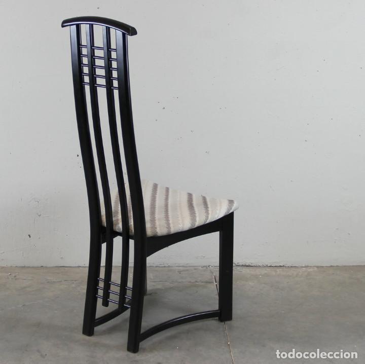 Vintage: 6 sillas de los años 80 italianas en lacado negro - Foto 3 - 109398519