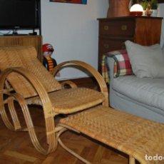 Vintage: IMPRESIONANTE TUMBONA DE RATÁN - PLEGABLE - SILLA - BUTACA - AÑOS 60. Lote 109927235