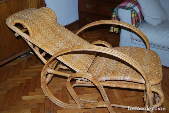 Vintage: IMPRESIONANTE TUMBONA DE RATÁN - PLEGABLE - SILLA - BUTACA - AÑOS 60 - Foto 16 - 109927235