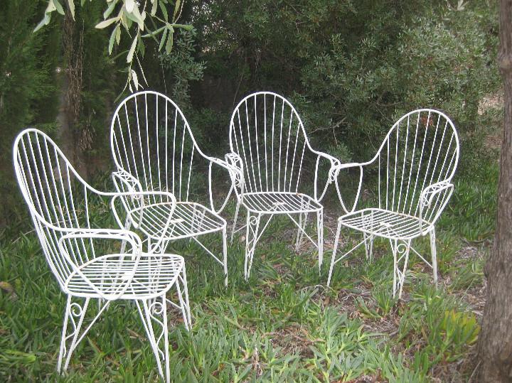 4 sillas vintage hierro forja diseño años 60 . - Comprar ... - photo#3
