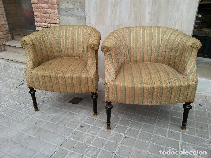 Bjs pareja de sillones tapizados vintage pa comprar muebles vintage en todocoleccion - Precios de tapizados de sillones ...