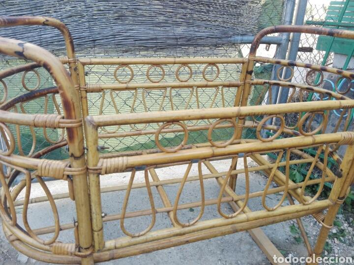 Moises o cuna antigua de mimbre rattan con pata comprar muebles vintage en todocoleccion - Patas de moises ...