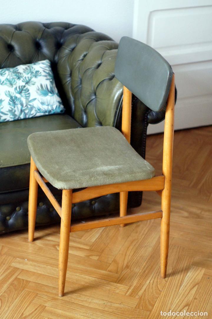 Vintage: Silla estilo escandinavo verde madera años 60 vintage - Foto 2 - 115376359
