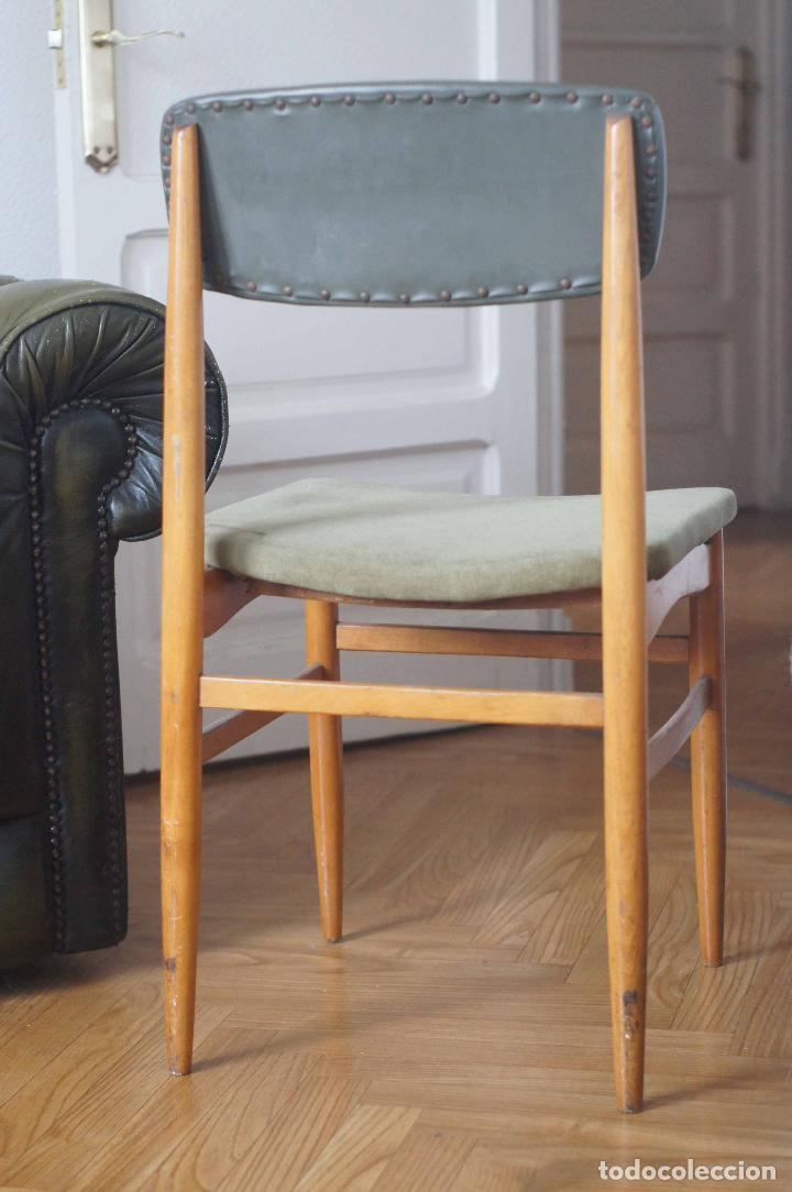 Vintage: Silla estilo escandinavo verde madera años 60 vintage - Foto 5 - 115376359