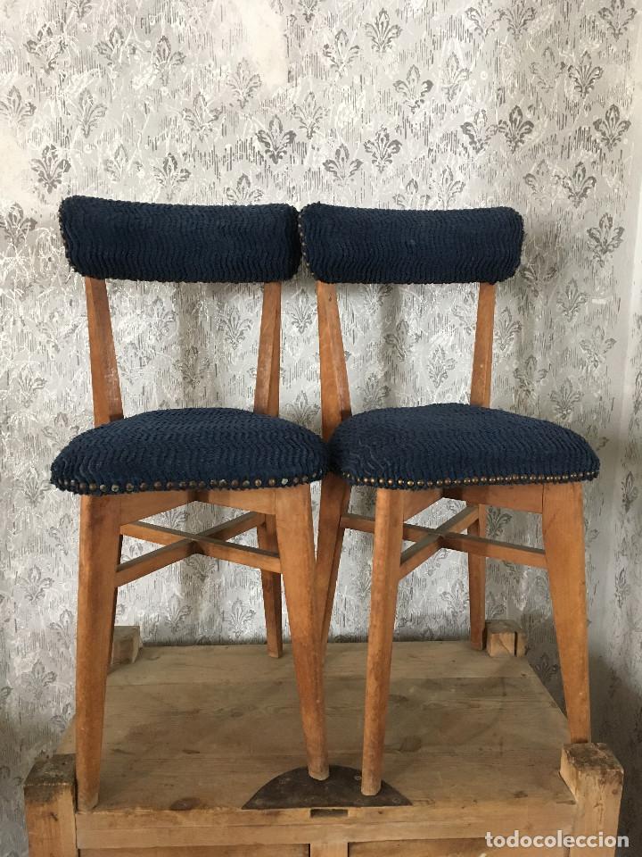 Pareja sillas tapizadas en azul a os 50 comprar - Sillas anos 60 ...