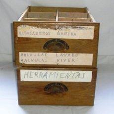 Vintage: LOTE DE 2 CAJONES DE MADERA CON TIRADOR DE CONCHA.. Lote 116395211