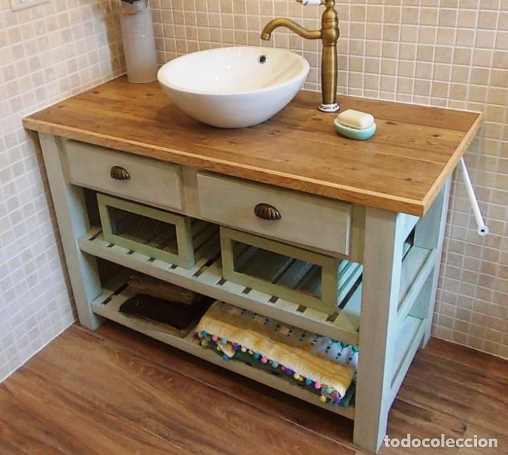 Mueble de madera lavabo ba o encimera ceramica comprar muebles vintage en todocoleccion - Encimera bano madera ...