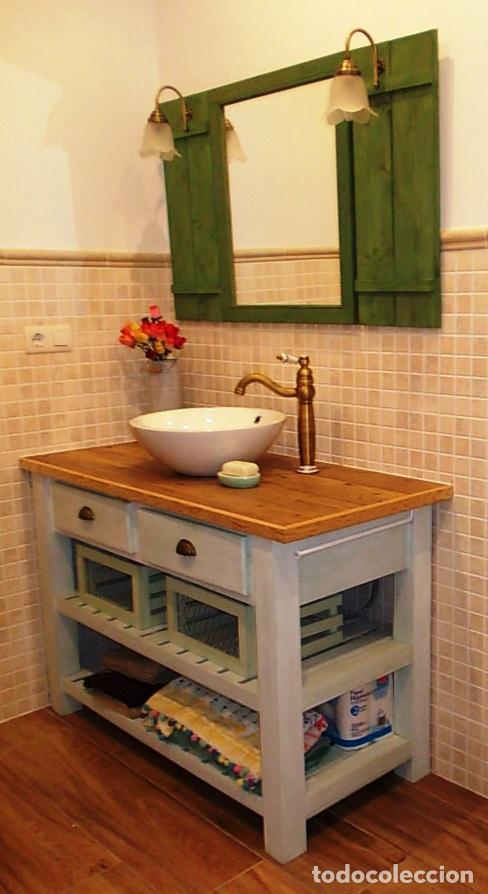 mueble de madera lavabo baño, encimera ceramica - Comprar ...