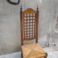 Vintage: CUATRO SILLAS MADERA Y ENEA. Lote 121725463