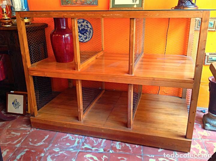 Vintage: Vitrina Aparador De Madera Con Ruedas Original Y Artesanal - Foto 3 - 122524531