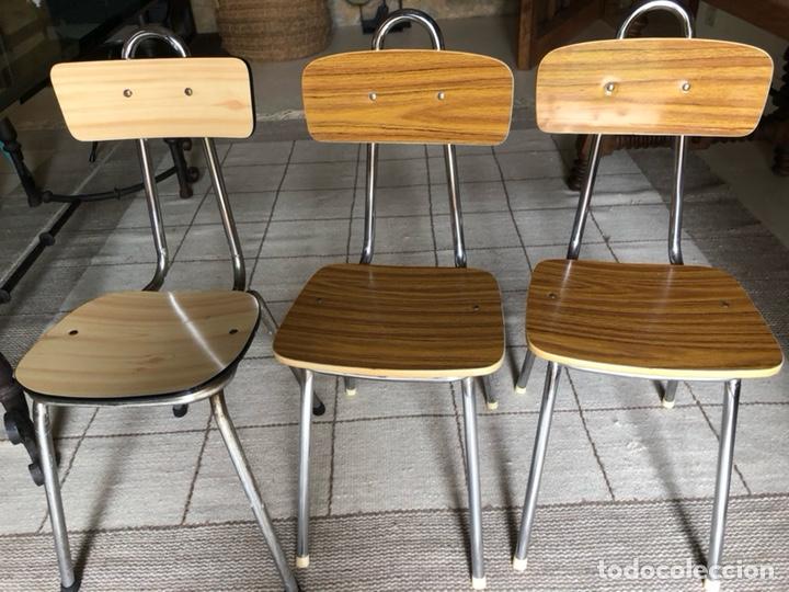 3 sillas cocina años 50/60, acero y formica