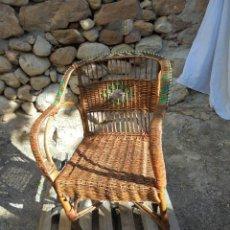Vintage: SILLA VINTAGE DE MIMBRE Y CAÑA DIFERENTE. Lote 123811887