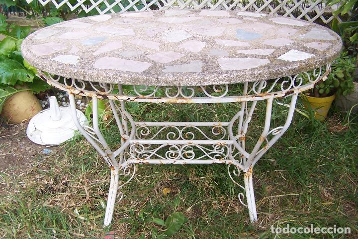 Mesa de jard n de hierro hueco con tapa de pied comprar - Mesa de jardin ...