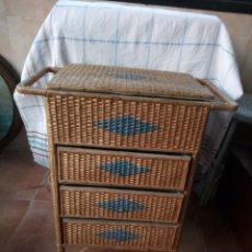 Vintage: PRECIOSO COSTURERO MIMBRE CAJA COSTURA CAJONES VINTAGE. Lote 128931779