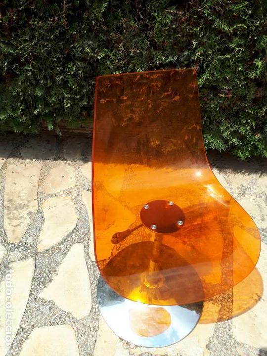 Vintage: Silla Sillón Despacho de Diseño. Basculante. Plástico y metal. Estilo Pop. Naranja. - Foto 4 - 130771060