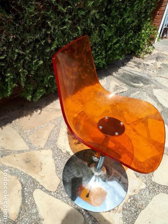 Vintage: Silla Sillón Despacho de Diseño. Basculante. Plástico y metal. Estilo Pop. Naranja. - Foto 5 - 130771060