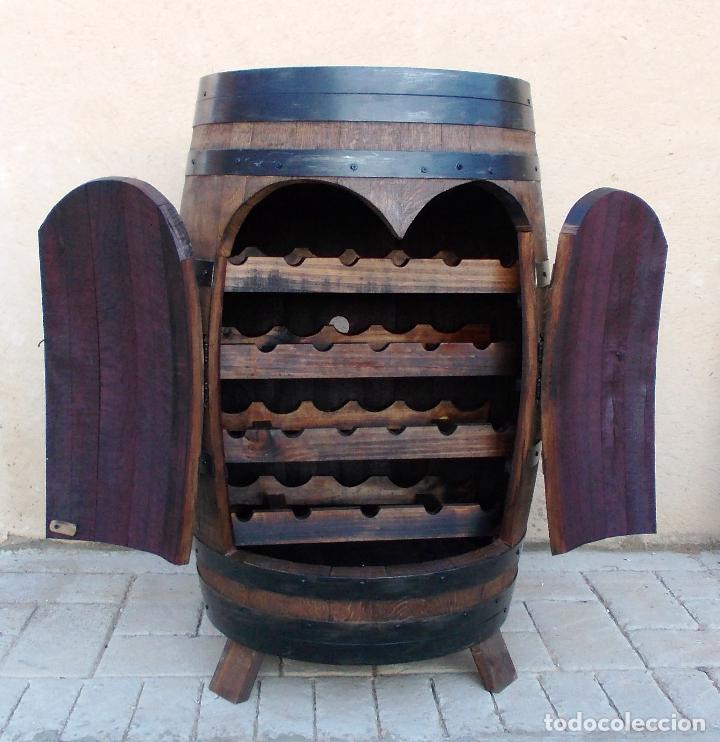 Botellero barrica de vino mueble en madera rob vendido - Nogal americano muebles ...