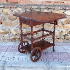 Vintage: CARRITO DE SERVIR ANTIGUO CARRO CAMARERA ANTIGUA DE MADERA MUEBLE BAR AUXILIAR ANTIGUO RETRO VINTAGE. Lote 135164894
