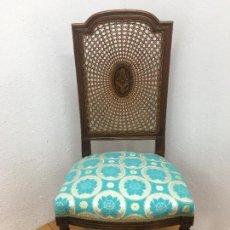 Vintage: SILLA DE MUELLES, RETAPIZADA EN TELA MARROQUI, AZUL TURQUESA Y ORO, MARCA DEL FABRICANTE. Lote 136538122