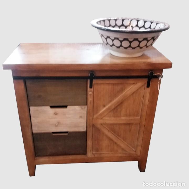 MUEBLE AUXILIAR MADERA NATURAL (Vintage - Muebles)