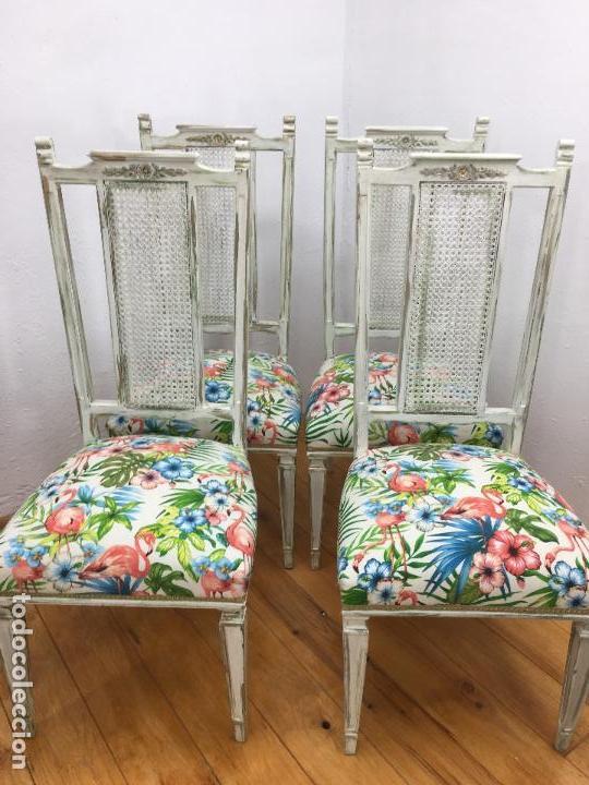 4 sillas comedor años 70-80, con rejilla y buen - Kaufen Vintage ...