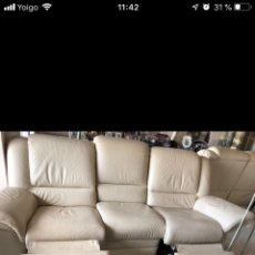 Vintage: SOFA TRIPLAZA CHATEUAX D'AX PIEL BEIGE RECLINABLE. Lote 140700800