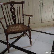 Vintage: SILLÓN REJILLA. MADERA NOGAL. AÑOS 60.. Lote 141465874
