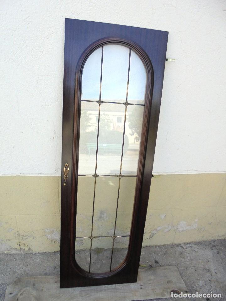 ANTIGUA PUERTA DE APARADOR CON VIDRIERA, TIRADOR Y BISAGRAS (Vintage - Muebles)