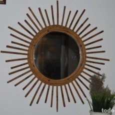 Vintage: ORIGINAL ESPEJO SOL DE BAMBÚ Y CAÑA - AÑOS 70. Lote 144210558
