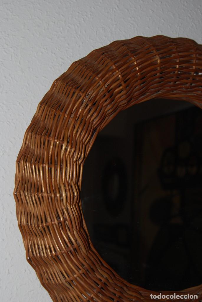 Vintage: ORIGINAL ESPEJO REDONDO DE MIMBRE - AÑOS 70 - Foto 3 - 144210770