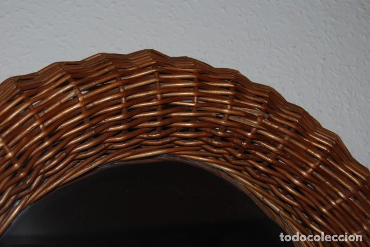 Vintage: ORIGINAL ESPEJO REDONDO DE MIMBRE - AÑOS 70 - Foto 4 - 144210770