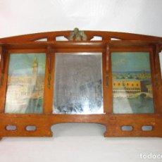 Vintage: GRAN ESPEJO ESTANTERIA MODERNISTA IDEAL TOCADOR DOBLE HABITACION GEMELAS O WC VINTAGE. Lote 147032490