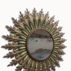Vintage: GRAN ESPEJO SOL 75CM HIERRO DORADO VINTAGE. Lote 147296718